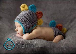 مدل کلاه بافتنی بچه گانه به شکل دایناسور