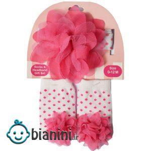 ست هدبند و جوراب نوزادی دخترانه طرح گل