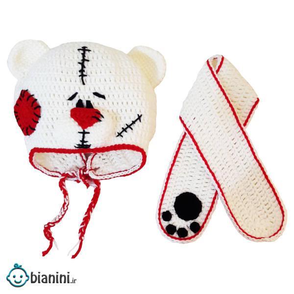 ست کلاه و شال گردن بافتنی بچگانه مدل خرس کد A1