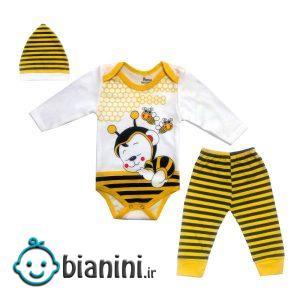 ست 3 تکه لباس نوزادی مدل زنبور کد 678945