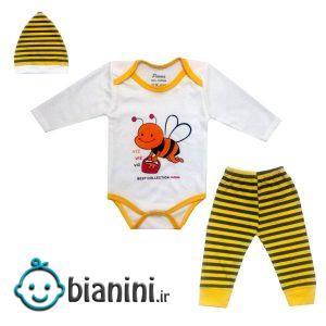ست 3 تکه لباس نوزادی مدل زنبور کد 930282