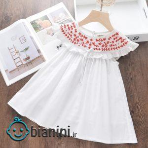 پیراهن دخترانه بچگانه سفید گلدوزی شده