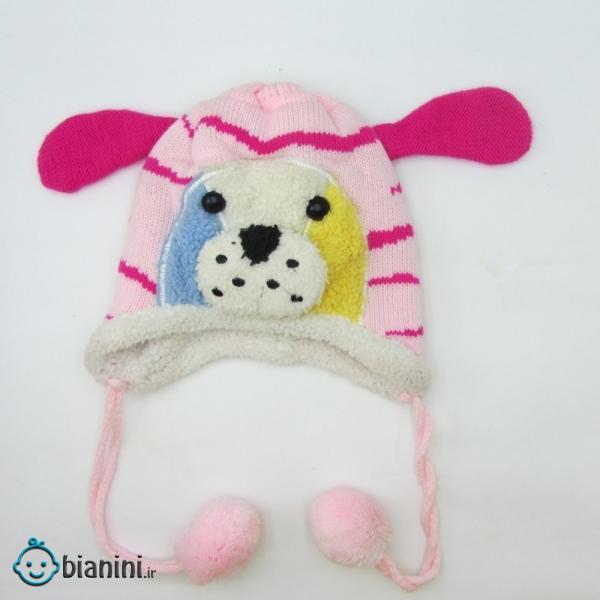 کلاه بافتنی دخترانه مدل سگ کد 76