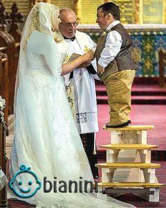 تفاوت 61 سانتیمتری قد یک زن و شوهر!