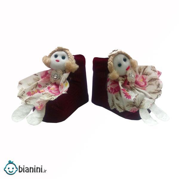 جوراب نوزادی دخترانه مدل عروسک کد 0060