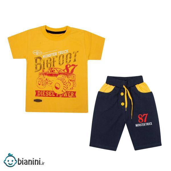 ست تی شرت و شلوارک پسرانه بهاران مدل 701146Y
