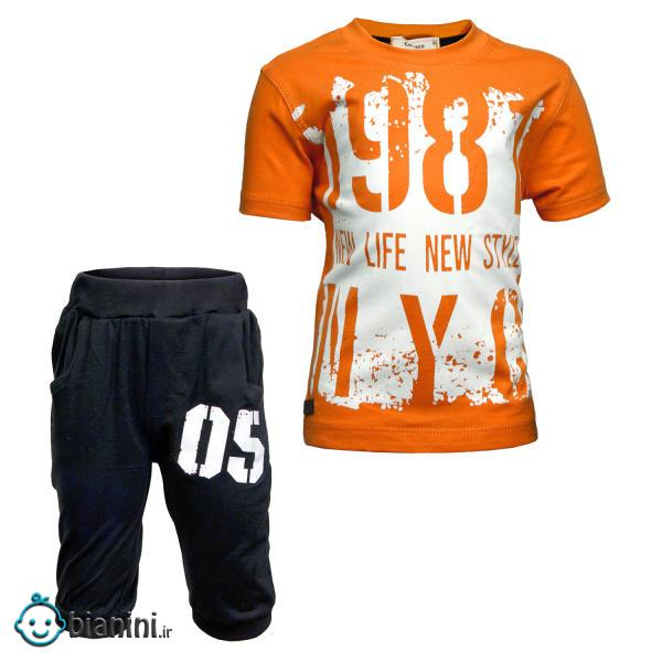 ست تی شرت و شلوارک پسرانه طرح 1987 کد 30 رنگ نارنجی