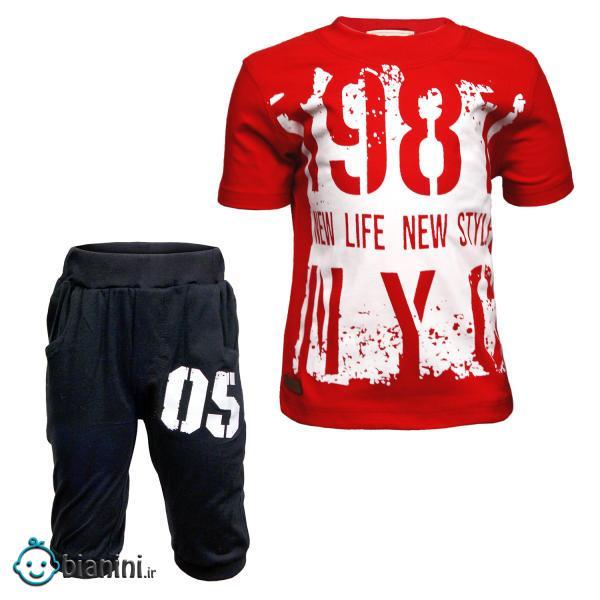 ست تی شرت و شلوارک پسرانه طرح 1987 کد 31 رنگ قرمز