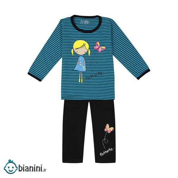 ست تی شرت و شلوار دخترانه خرس کوچولو مدل 002