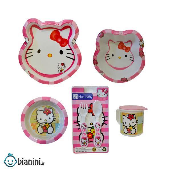 ست 6 تکه ظرف غذا کودک بلو بیبی مدل Nar24 طرح Hello Kitty