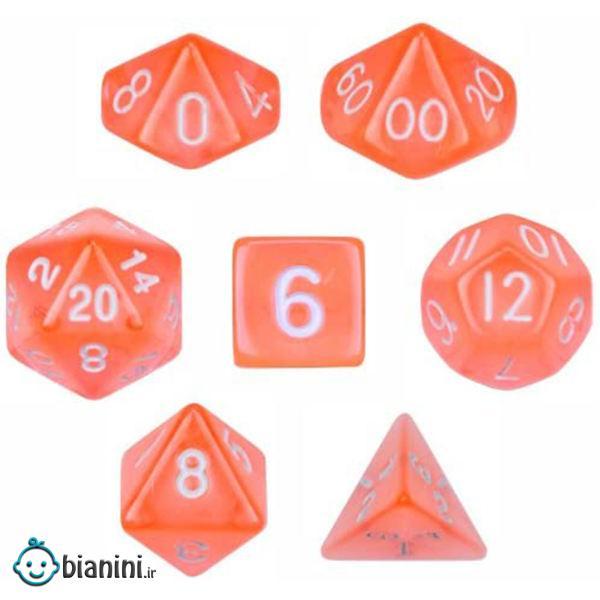 تاس بازی ویز دایس مدل Translucent Orange مجموعه 7 عددی