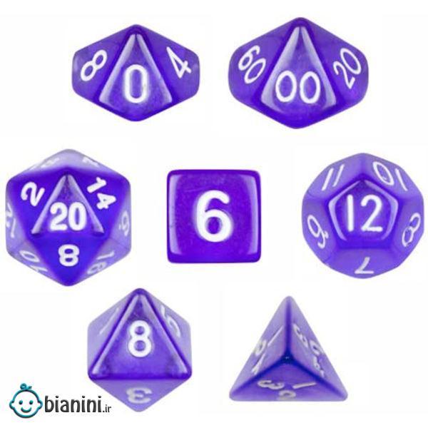 تاس بازی ویز دایس مدل Translucent Purple مجموعه 7 عددی