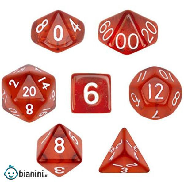 تاس بازی ویز دایس مدل Translucent Red مجموعه 7 عددی