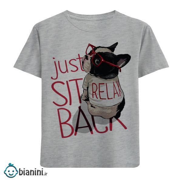 تی شرت آستین کوتاه بچگانه مدل سگ عینکی just F379