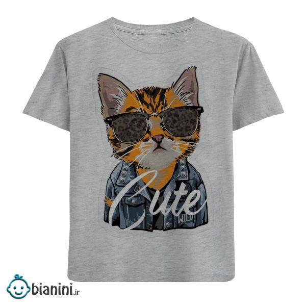 تی شرت آستین کوتاه بچگانه مدل گربه عینکی F378