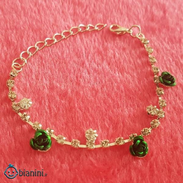 دستبند دخترانه مدل گل رز کد P1107
