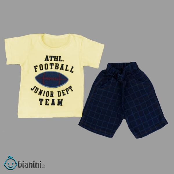 ست تی شرت و شلوارک بچگانه مدل Att-Football کد 03
