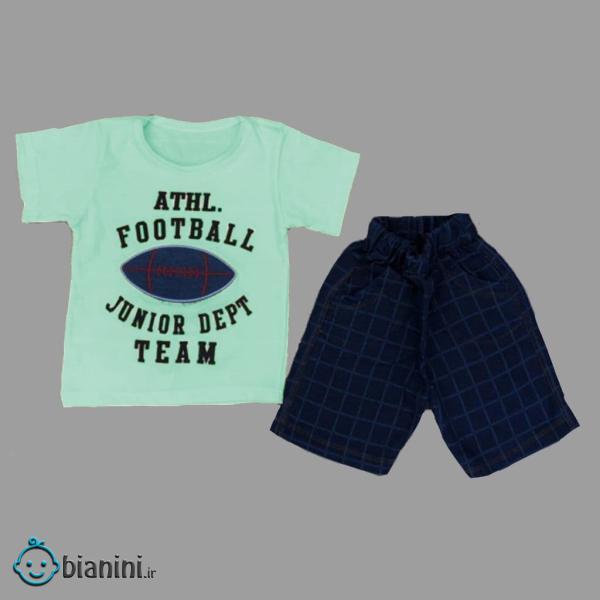 ست تی شرت و شلوارک بچگانه مدل Att-Football کد02