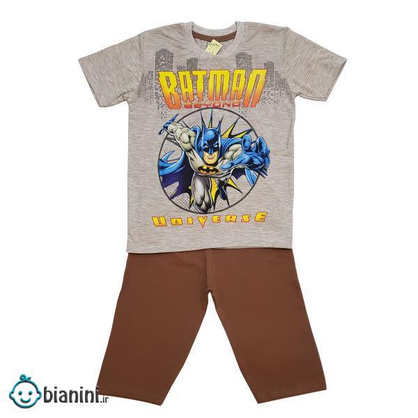 ست تی شرت و شلوارک پسرانه مدل بتمن کد 6767 رنگ قهوه ای