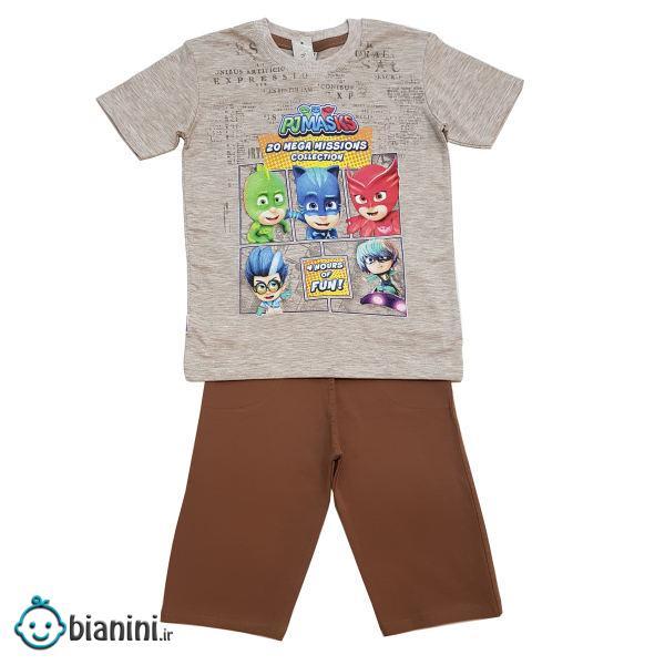 ست تی شرت و شلوارک پسرانه مدل PJ Mask کد 6765 رنگ قهوه ای