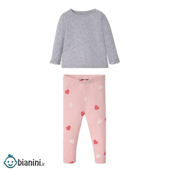ست تی شرت و شلوار نوزادی دخترانه لوپیلو مدل LOVE01