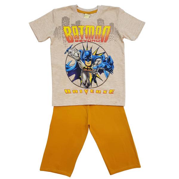 ست تی شرت و شلوارک پسرانه مدل بتمن کد 6767 رنگ خردلی
