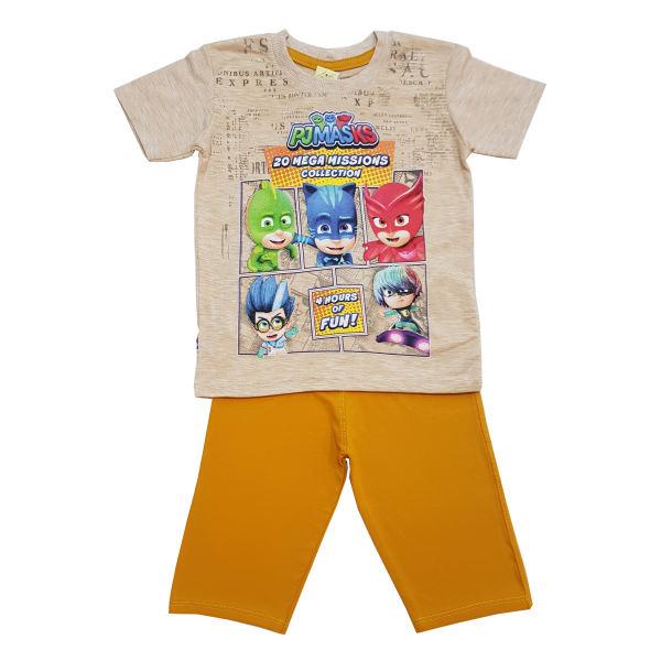ست تی شرت و شلوارک پسرانه مدل PJ Mask کد 6765 رنگ خردلی