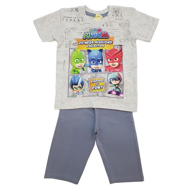 ست تی شرت و شلوارک پسرانه مدل PJ Mask کد 6765 رنگ طوسی