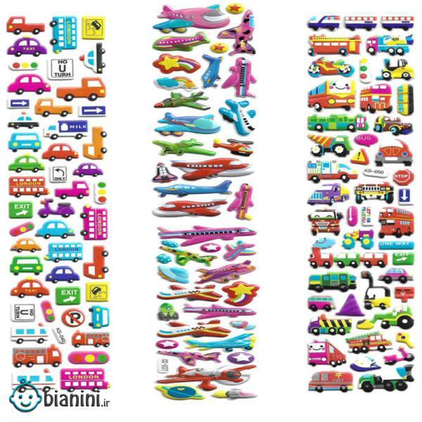 استیکر کودک طرح وسیله نقلیه و هواپیما کد CT111 مجموعه 3 عددی