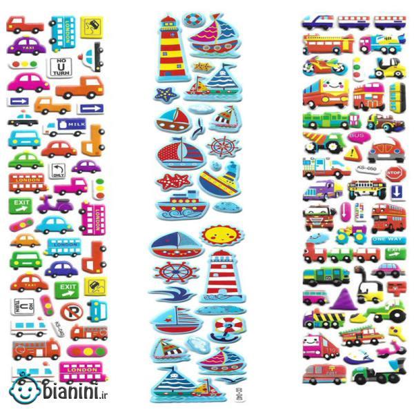 استیکر کودک طرح وسیله نقلیه کد CT5040 مجموعه 3 عددی