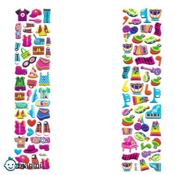 استیکر کودک طرح  پوشاک و لوازم موسیقی کد CT111 مجموعه 2 عددی