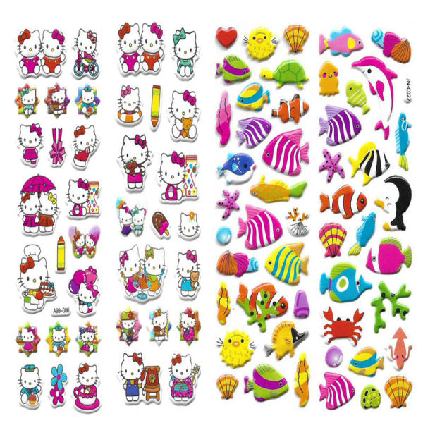 استیکر کودک طرح گربه و جانوران دریا کد CT111 مجموعه 2 عددی