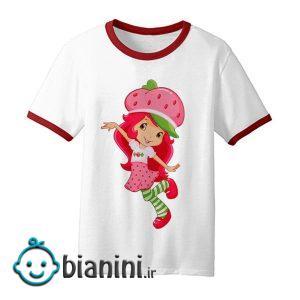 تی شرت آستین کوتاه بچگانه مدل دختر توت فرنگی کد TDb2202