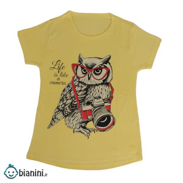 تی شرت دخترانه مدل جغد رنگ زرد