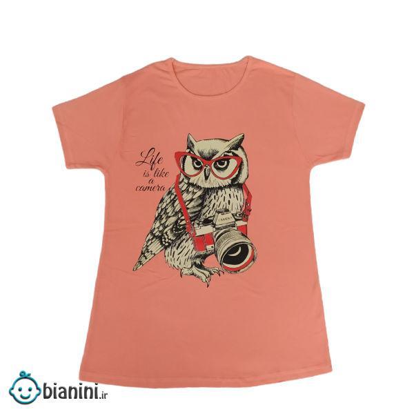 تی شرت دخترانه مدل جغد رنگ نارنجی