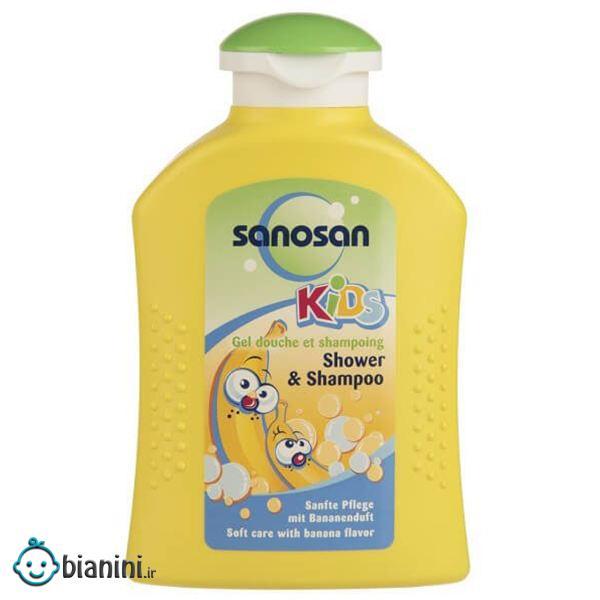 شامپو سر و بدن بچه سانوسان مدل Kids Banana حجم 200 میلی لیتر