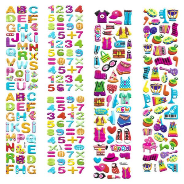 استیکر کودک طرح اعداد و الفبا و پوشاک و لوازم موسیقی کد CT111 مجموعه 4 عددی