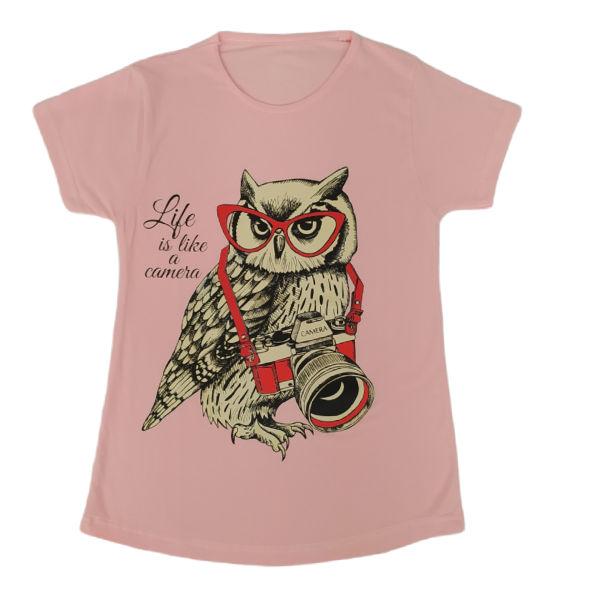 تی شرت دخترانه مدل جغد رنگ صورتی