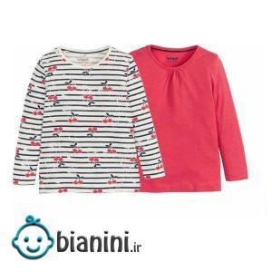 تی شرت آستین بلند دخترانه لوپیلو مدل آلبالو مجموعه ۲ عددی