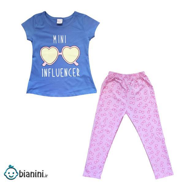 ست تی شرت و شلوار دخترانه مدل Mini Influencer