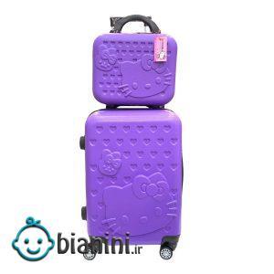 چمدان کودک طرح گربه کد C0404 مجموعه 2 عددی