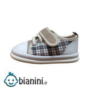 کفش نوزادی مدل چهارخونه رنگ کرم